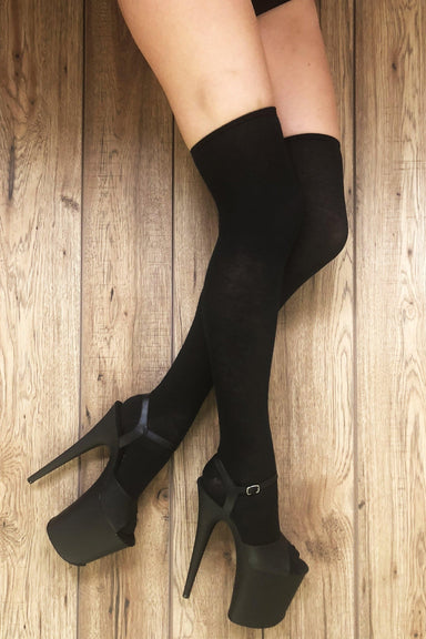Rolling Over the Knee Socks - Black (3 Sizes Available)-Rolling-Pole Junkie