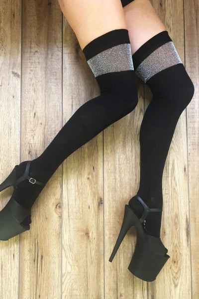 Black Over the Knee Socks with Silver Lurex band-Rolling-Pole Junkie