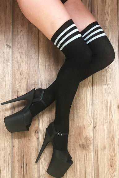 Rolling Striped Over the Knee Socks - Black/White (3 Sizes Available)-Rolling-Pole Junkie