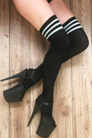 Striped Over the Knee Socks - Black/White (3 Sizes)-Rolling-Pole Junkie