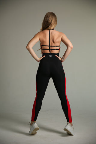 Sling Leggings - Black with Red Stripe-Shark Polewear-Pole Junkie