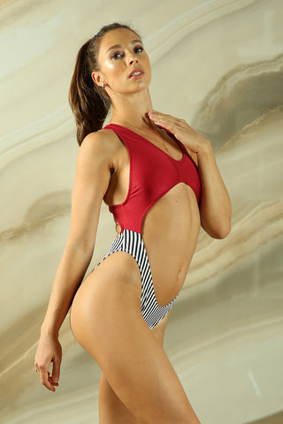 Vashkelita Bodysuit - Wine/Striped-Shark Polewear-Pole Junkie