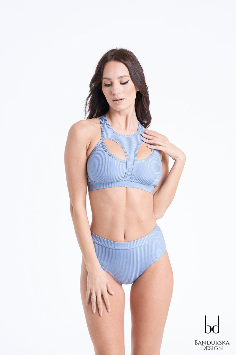 Bandurska Valentina Top - Ribbed Steel Blue-Bandurska-Pole Junkie