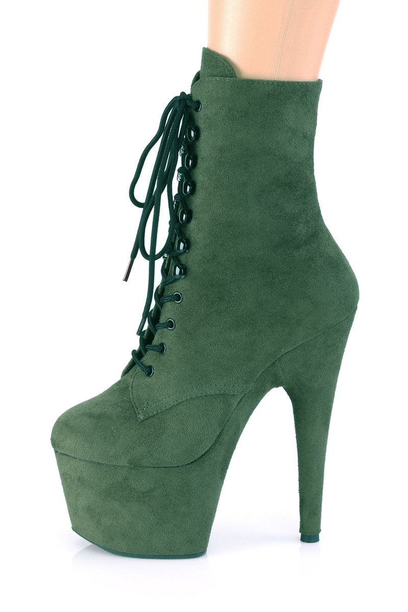 Pleaser USA Adore-1020FS Faux Suede 7Inch Pleaser Boots - Emerald Green-Pleaser USA-Pole Junkie