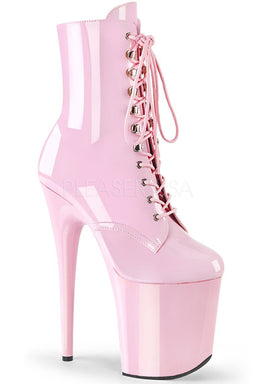 Pleaser USA Flamingo-1020 8inch Pleaser Boots - Patent Baby Pink-Pleaser USA-Pole Junkie