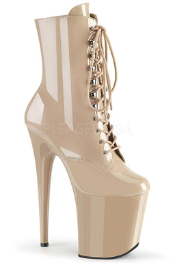 Pleaser USA Flamingo-1020 8inch Pleaser Boots - Patent Beige-Pleaser USA-Pole Junkie