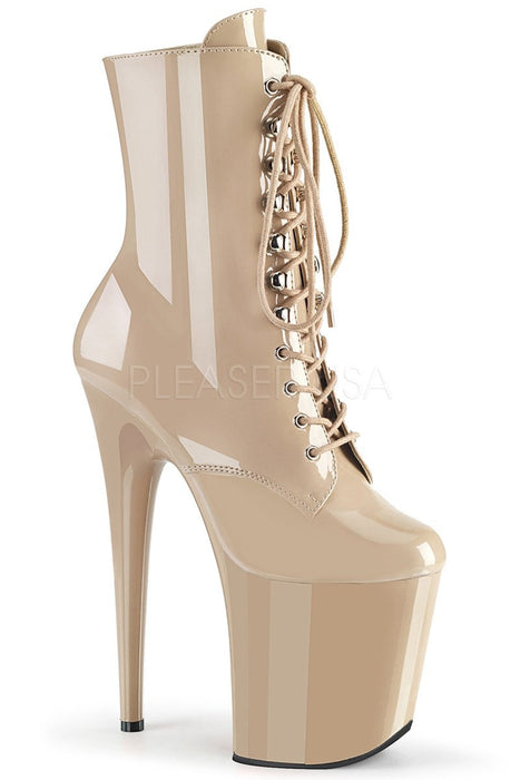 Flamingo-1020 8inch Pleaser Boots - Patent Nude-Pleaser USA-Pole Junkie