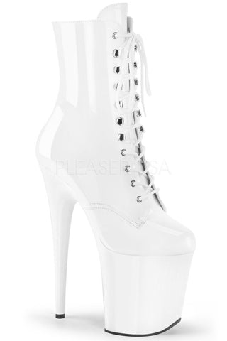 Flamingo-1020 8inch Pleaser Boots - Patent White-Pleaser USA-Pole Junkie