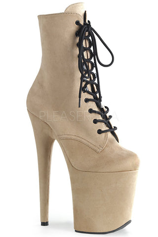 Flamingo-1020FS Faux Suede 8inch Pleaser Boots - Beige-Pleaser USA-Pole Junkie