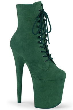 Flamingo-1020FS Faux Suede 8inch Pleaser Boots - Emerald Green-Pleaser USA-Pole Junkie