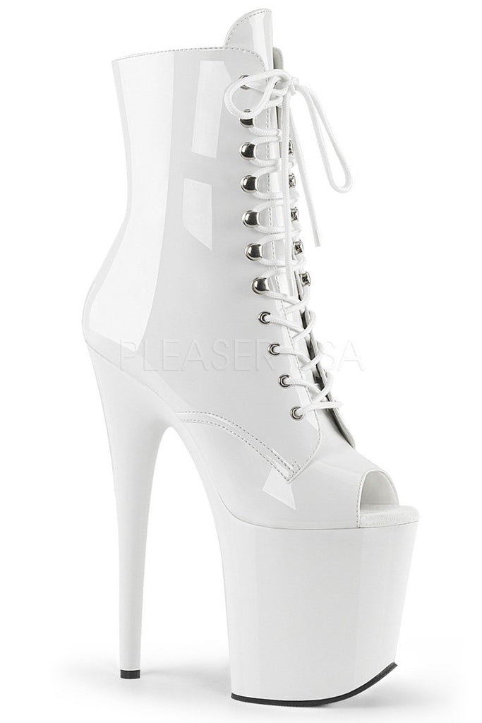 Flamingo-1021 8inch Pleaser Peep toe Boots - Patent White-Pleaser USA-Pole Junkie