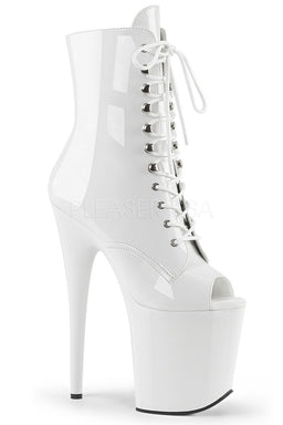 Pleaser USA Flamingo-1021 8inch Pleaser Peep toe Boots - Patent White-Pleaser USA-Pole Junkie