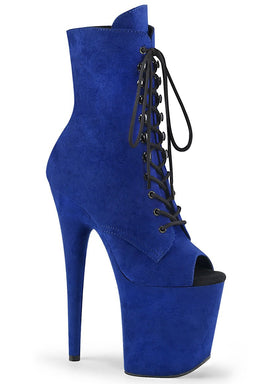 Pleaser USA Flamingo-1021FS Faux Suede 8inch Peep Toe Pleaser Boots - Royal Blue-Pleaser USA-Pole Junkie