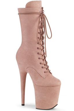 Pleaser USA Flamingo-1050FS Faux Suede 8inch Pleaser Boots - Dusty Blush-Pleaser USA-Pole Junkie