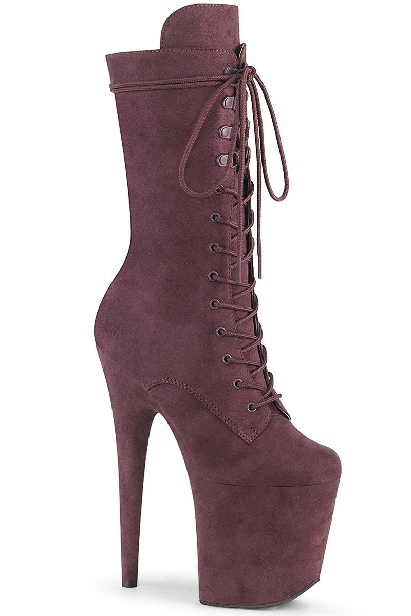 Pleaser USA Flamingo-1050FS Faux Suede 8inch Pleaser Boots - Brown-Pleaser USA-Pole Junkie