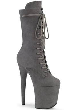 Pleaser USA Flamingo-1050FS Faux Suede 8inch Pleaser Boots - Grey-Pleaser USA-Pole Junkie