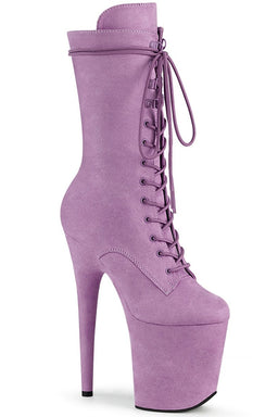 Flamingo-1050FS Faux Suede 8inch Pleaser Boots - Lilac-Pleaser USA-Pole Junkie