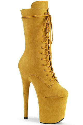 Flamingo-1050FS Faux Suede 8inch Pleaser Boots - Mustard-Pleaser USA-Pole Junkie