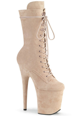 Pleaser USA Flamingo-1050FS Faux Suede 8inch Pleaser Boots - Oatmeal-Pleaser USA-Pole Junkie