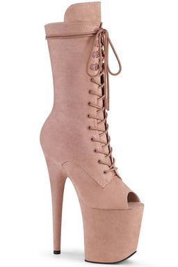 Pleaser USA Flamingo-1051FS Faux Suede 8inch Peep Toe Pleaser Boots - Dusty Blush-Pleaser USA-Pole Junkie