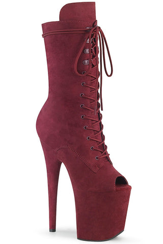Flamingo-1051FS Faux Suede 8inch Peep Toe Pleaser Boots - Burgundy-Pleaser USA-Pole Junkie