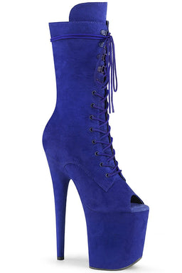 Pleaser USA Flamingo-1051FS Faux Suede 8inch Peep Toe Pleaser Boots - Royal Blue-Pleaser USA-Pole Junkie
