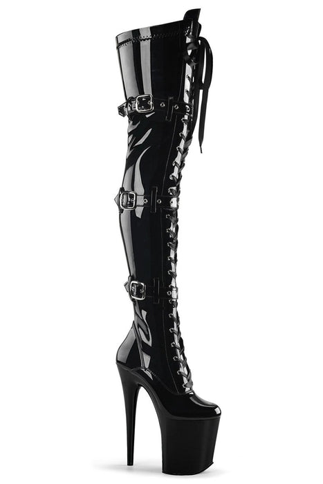 Flamingo-3028 8inch Thigh High Pleaser Boots - Patent Black-Pleaser USA-Pole Junkie