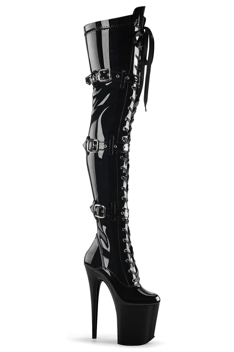 Pleaser USA Flamingo-3028 8inch Thigh High Pleaser Boots - Patent Black-Pleaser USA-Pole Junkie