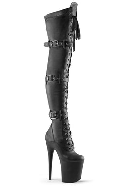 Pleaser USA Flamingo-3028 8inch Thigh High Pleaser Boots - Matte Black-Pleaser USA-Pole Junkie