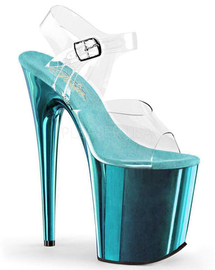 Pleaser USA Flamingo-808 Chrome 8inch Pleasers - Turquoise-Pleaser USA-Pole Junkie