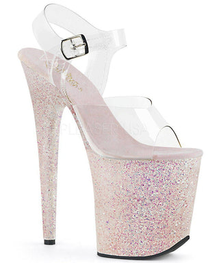 Pleaser USA Flamingo-808LG Holographic Glitter 8inch Pleasers - Opal-Pleaser USA-Pole Junkie