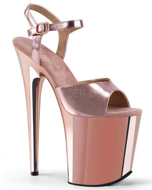 Pleaser USA Flamingo-809 Metallic/Chrome 8inch Pleasers - Rose Gold-Pleaser USA-Pole Junkie