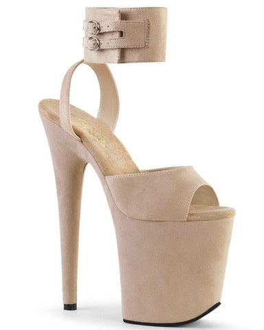 Flamingo-891 Faux Suede 8inch Pleasers - Nude-Pleaser USA-Pole Junkie