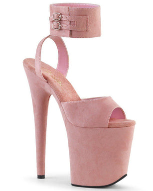 Flamingo-891 Faux Suede 8inch Pleasers - Baby Pink-Pleaser USA-Pole Junkie