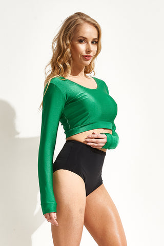 Long Sleeve Top - Emerald-Shark Polewear-Pole Junkie