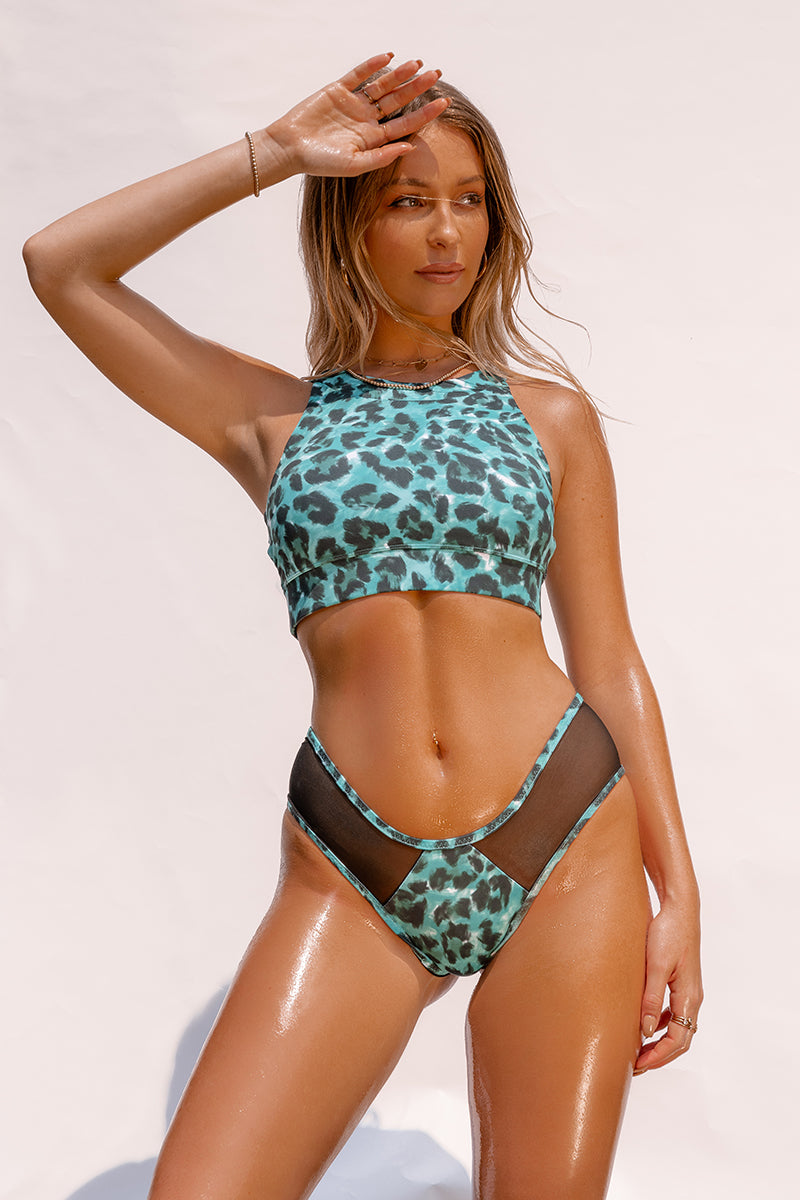 Creatures of XIX Nyx SAFARI Top - Green Leopard-Creatures of XIX-Pole Junkie