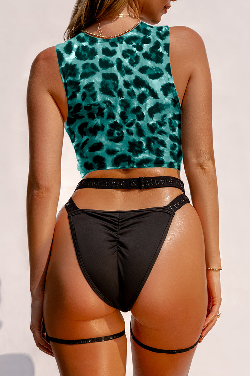 Creatures of XIX SAFARI Buckle Up Garter Top - Green Leopard-Creatures of XIX-Pole Junkie