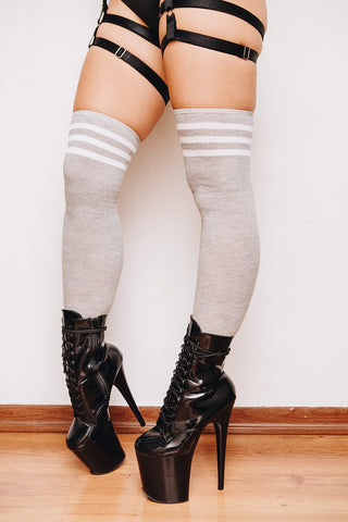 Striped Over he Knee Socks - Grey/White-Rolling-Pole Junkie