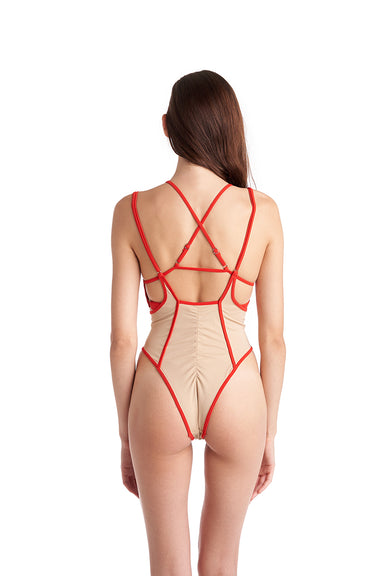 Hamade Activewear High Waisted Sling Bottoms - Sand/Red-Hamade Activewear-Pole Junkie