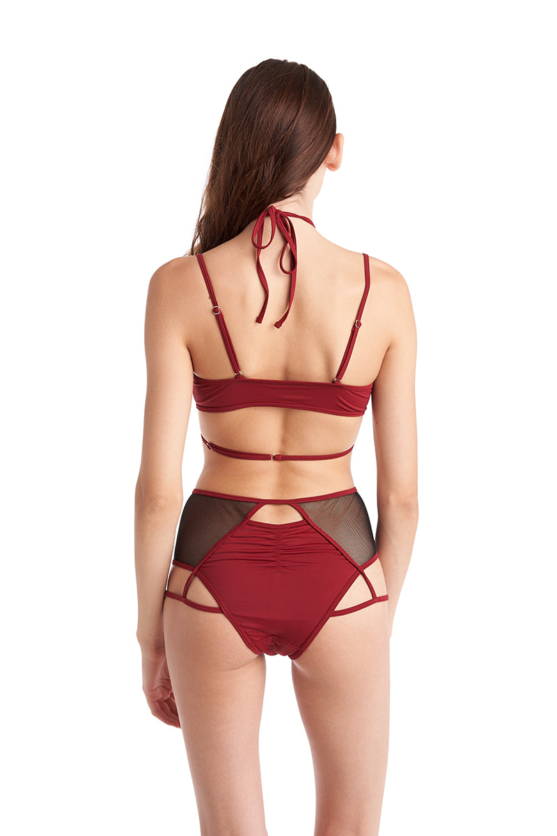 Hamade Activewear Strappy Halter Neck Top - Brick Red-Hamade Activewear-Pole Junkie
