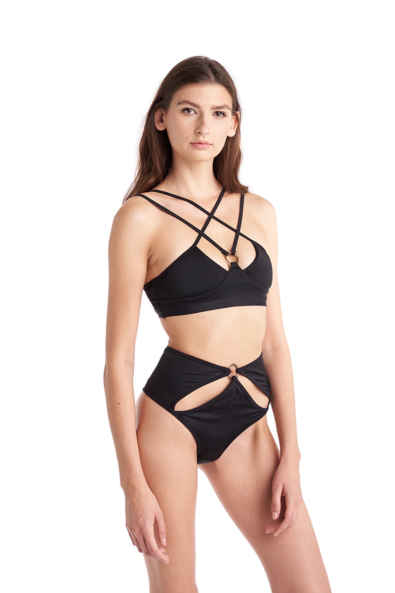Hamade Activewear Hollow Front Bottoms - Black-Hamade Activewear-Pole Junkie