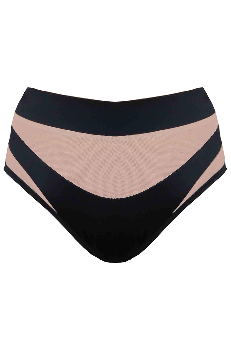 Creatures of XIX Goddess High Waisted Bottoms - Black with Sand Mesh-Creatures of XIX-Pole Junkie