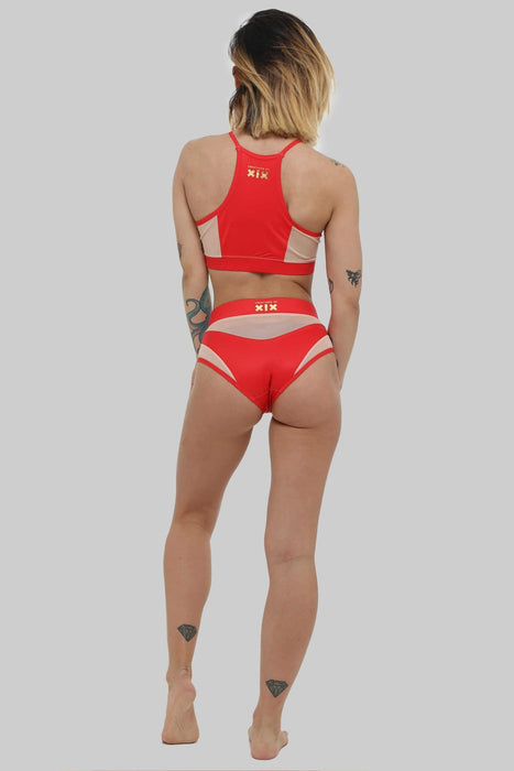 Goddess High Waisted Bottoms - Red with Sand Mesh-Creatures of XIX-Pole Junkie