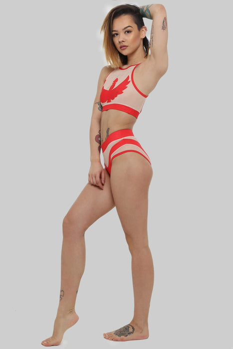 Goddess Halter Top - Red with Sand Mesh-Creatures of XIX-Pole Junkie