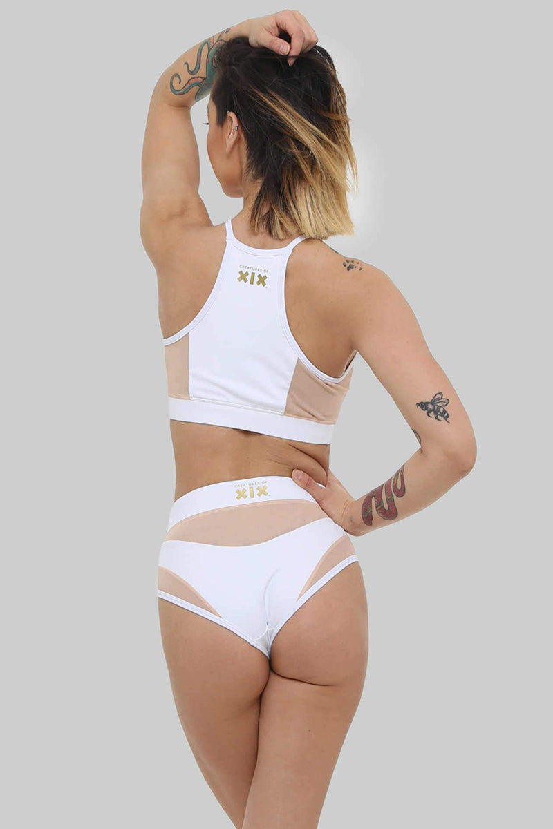 Creatures of XIX I S I S High Waisted Bottoms - White with Sand Mesh-Creatures of XIX-Pole Junkie