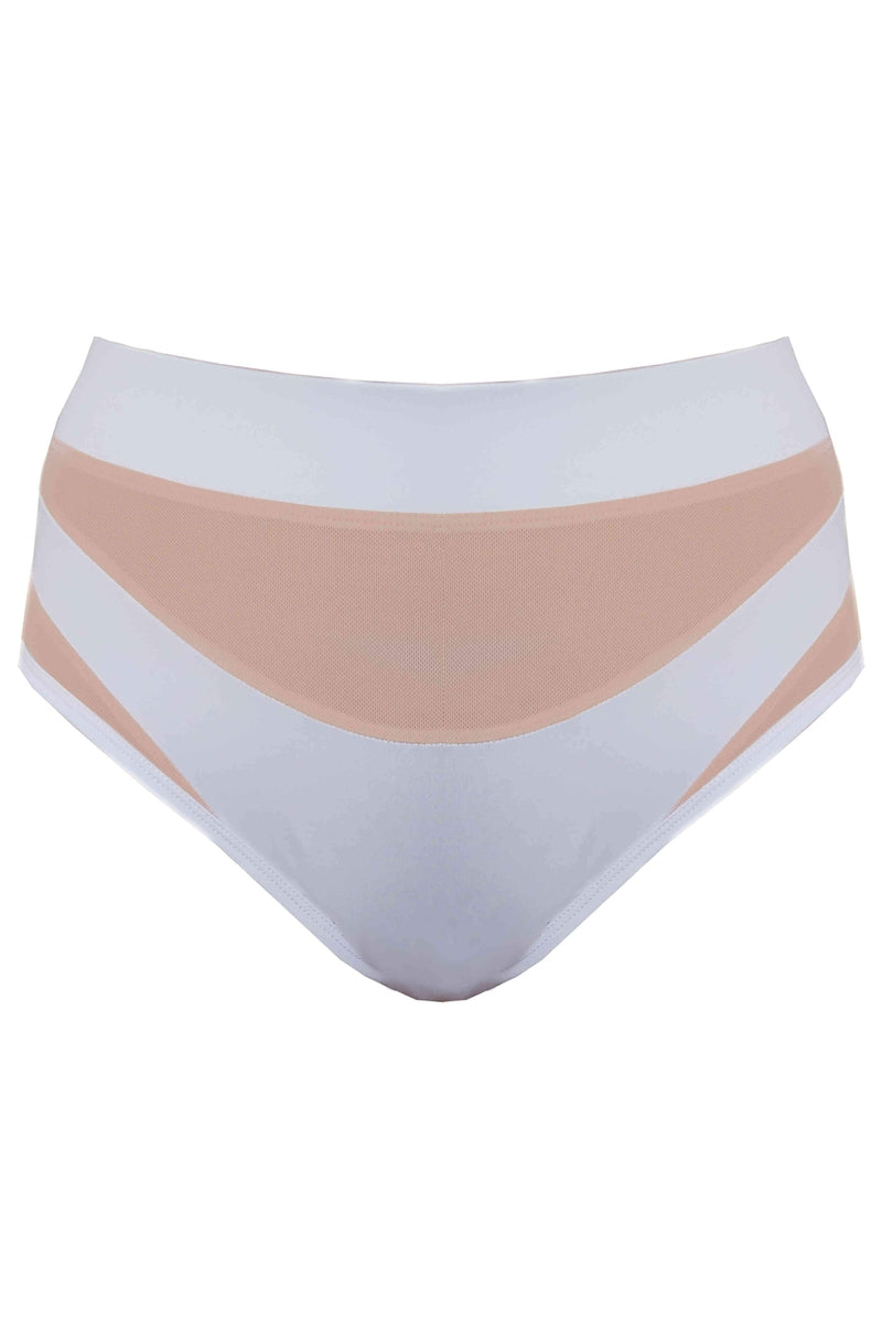 Creatures of XIX Goddess High Waisted Bottoms - White with Sand Mesh-Creatures of XIX-Pole Junkie