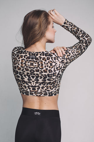 Long Sleeve Top - Leopard-Shark Polewear-Pole Junkie