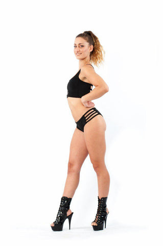Side Strap Shorts - Black-Paradise Chick-Pole Junkie