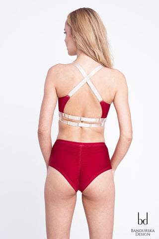 Classic High Waisted Shorts - Wine-Bandurska-Pole Junkie