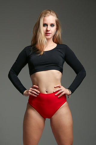 Long Sleeve Top - Black-Shark Polewear-Pole Junkie